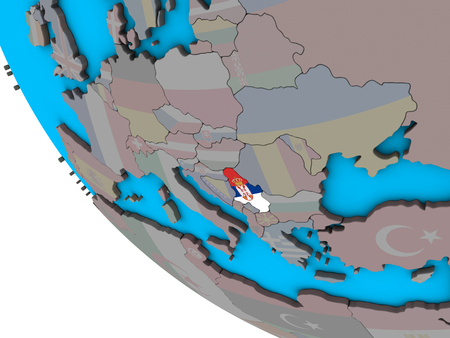 Serbia with embedded national flag on simple 3D globe. 3D illustration.