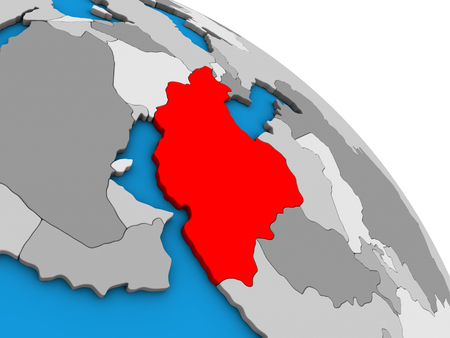 Iran on simple blue political 3D globe. 3D illustration.