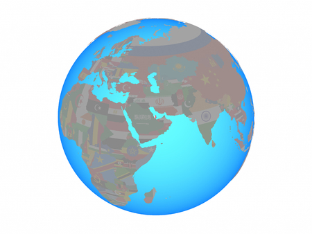 Qatar with national flag on blue political globe. 3D illustration isolated on white background.