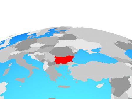 Bulgaria on political globe. 3D illustration.
