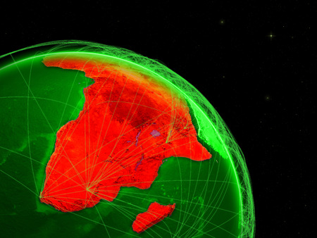 Africa on green Earth in space with networks. Concept of intercontinental air traffic or telecommunications network. 3D illustration.