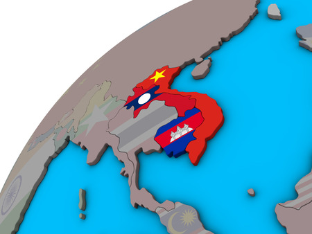 Indochina with national flags on 3D globe. 3D illustration.