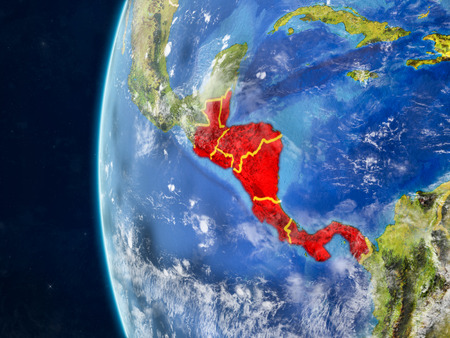 Central America from space on model of planet Earth with country borders and very detailed planet surface and clouds. 3D illustration.