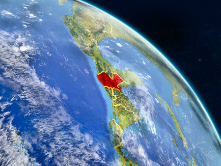 Guatemala from space on realistic model of planet Earth with country borders and detailed planet surface and clouds. 3D illustration.