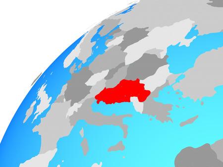 Yugoslavia on globe. 3D illustration.