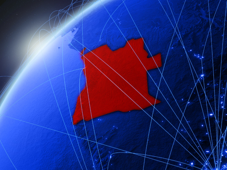 Angola on model of green planet Earth with international networks. Concept of blue digital communication and technology. 3D illustration. Stock Photo