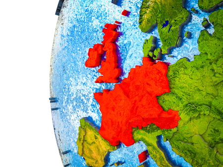Western Europe highlighted on 3D Earth with visible countries and watery oceans. 3D illustration.