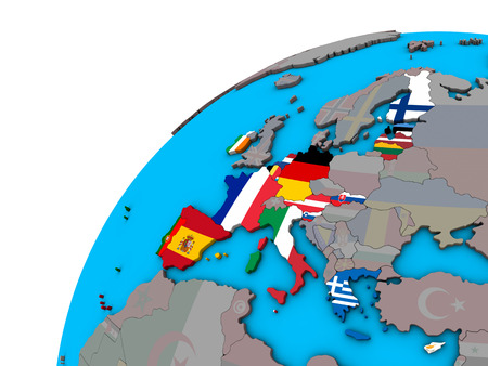 Eurozone member states with national flags on 3D globe. 3D illustration. Stock Photo