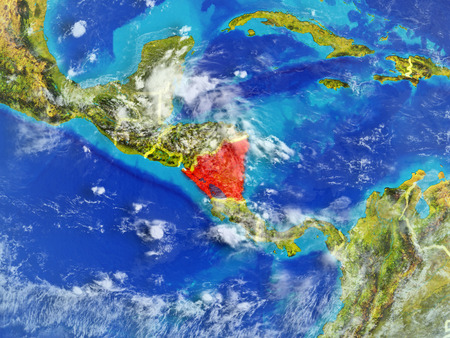 Nicaragua from space on model of planet Earth with country borders. Extremely fine detail of planet surface and clouds. 3D illustration.