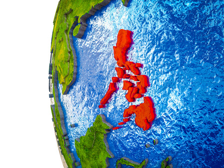Philippines highlighted on 3D Earth with visible countries and watery oceans. 3D illustration.