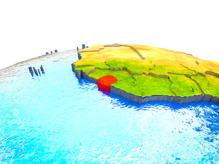 Sierra Leone on 3D Earth with visible countries and blue oceans with waves. 3D illustration. Stock Photo