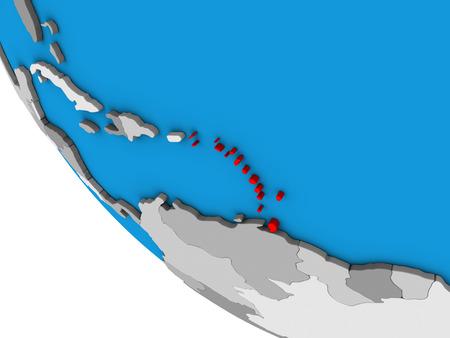 Caribbean on simple 3D globe. 3D illustration.