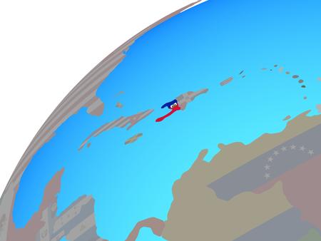 Haiti with embedded national flag on globe. 3D illustration. Stock Photo
