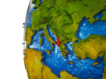 Albania highlighted on 3D Earth with visible countries and watery oceans. 3D illustration.