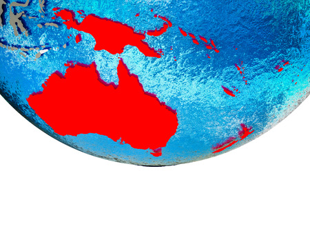 Australia on 3D Earth with divided countries and watery oceans. 3D illustration.