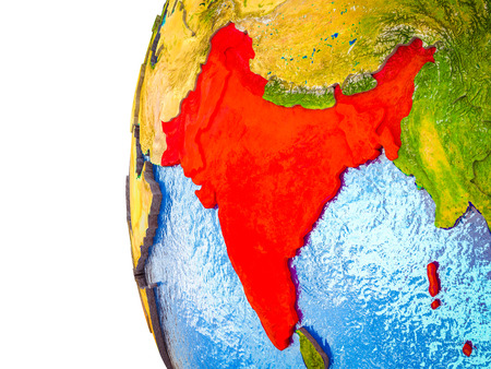 British India highlighted on 3D Earth with visible countries and watery oceans. 3D illustration.
