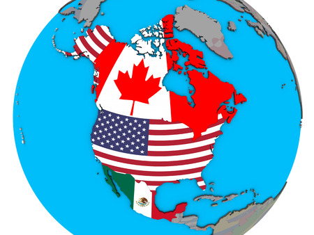 NAFTA member states with embedded national flags on blue political 3D globe. 3D illustration.