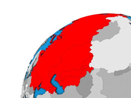 Soviet Union on 3D globe. 3D illustration.