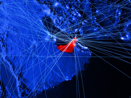 United Arab Emirates on blue digital map with networks. Concept of international travel, communication and technology. 3D illustration.