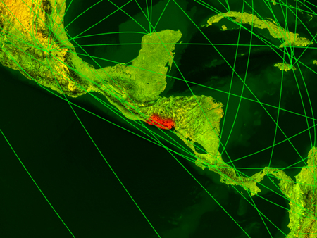 El Salvador on digital map with networks. Concept of international travel, communication and technology. 3D illustration. Banco de Imagens