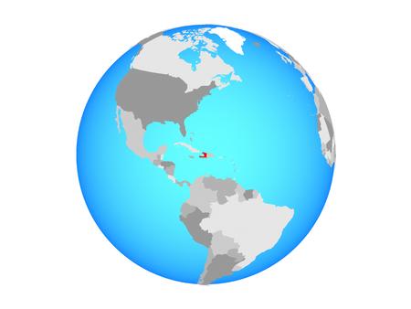 Haiti on blue political globe. 3D illustration isolated on white background.