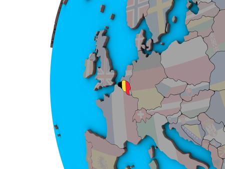 Belgium with national flag on blue political 3D globe. 3D illustration. Imagens