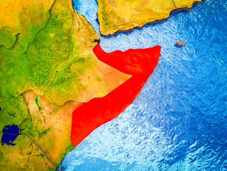 Somalia on model of 3D Earth with blue oceans and divided countries. 3D illustration.