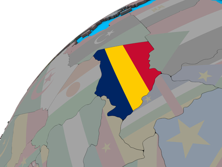 Chad with national flag on 3D globe. 3D illustration.