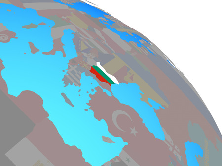 Bulgaria with national flag on simple blue political globe. 3D illustration.
