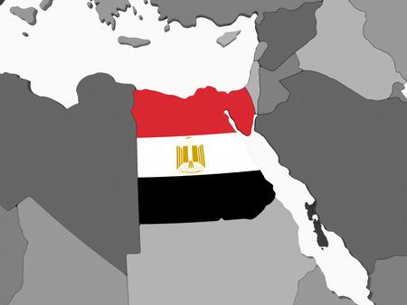 Egypt on gray political globe with embedded flag. 3D illustration.