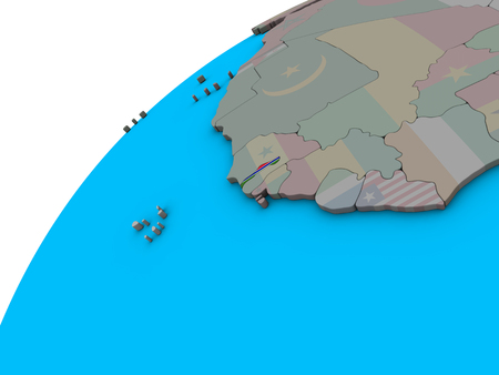 Gambia with national flag on 3D globe. 3D illustration. Stock Photo
