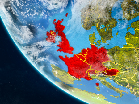 Western Europe on planet Earth from space with country borders. Very fine detail of planet surface and clouds. 3D illustration. Banco de Imagens