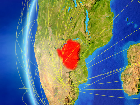 Zimbabwe from space on model of Earth with international network. Concept of digital communication or travel. 3D illustration.