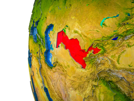 Uzbekistan highlighted on 3D Earth with visible countries and watery oceans. 3D illustration. Stock Photo