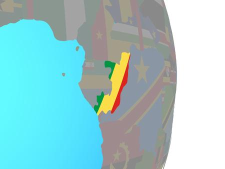 Congo with national flag on simple political globe. 3D illustration. Standard-Bild - 111086822
