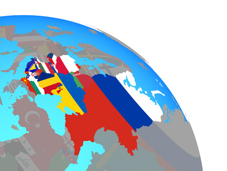 Eastern Europe with national flags on simple blue political globe. 3D illustration.