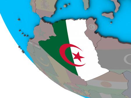 Algeria with embedded national flag on simple 3D globe. 3D illustration.