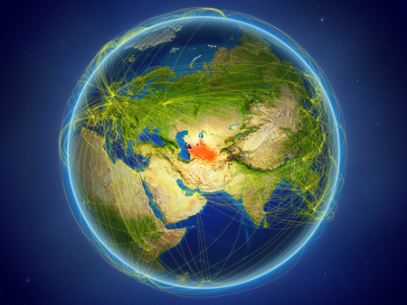 Turkmenistan from space on planet Earth with digital network representing international communication, technology and travel. 3D illustration. Stock Photo