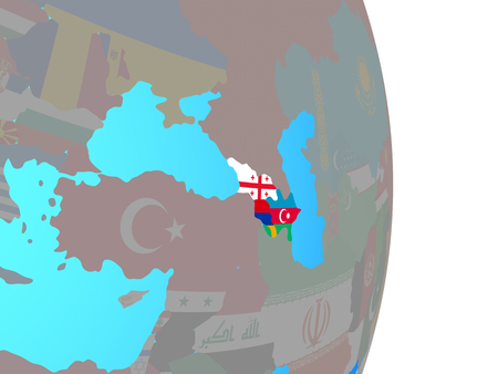 Caucasus region with national flags on simple political globe. 3D illustration.