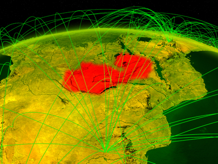 Zambia on digital planet Earth with international network representing communication, travel and connections. 3D illustration.