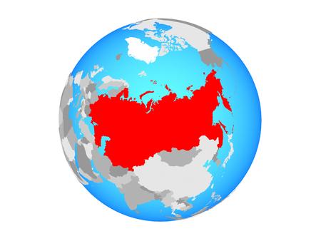 Soviet Union on blue political globe. 3D illustration isolated on white background. Stock Photo