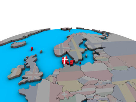 Denmark with embedded national flag on political 3D globe. 3D illustration.