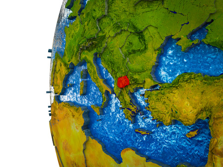 Macedonia highlighted on 3D Earth with visible countries and watery oceans. 3D illustration.