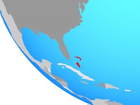 Bahamas on simple globe. 3D illustration.