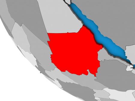 Sudan on simple 3D globe. 3D illustration. Stock Photo