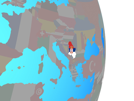Serbia with national flag on simple political globe. 3D illustration.