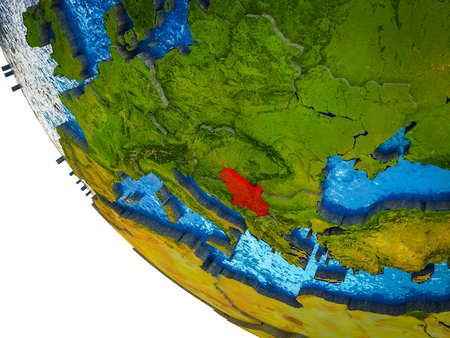 Serbia on model of Earth with country borders and blue oceans with waves. 3D illustration.