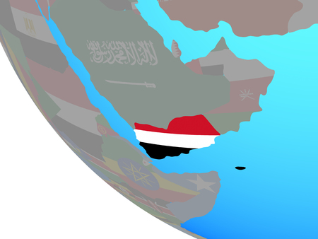 Yemen with national flag on simple globe. 3D illustration.