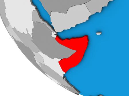 Somalia on simple 3D globe. 3D illustration. Stockfoto