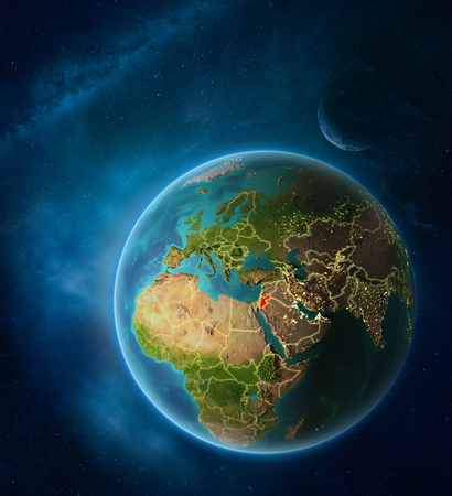 Planet Earth with highlighted Jordan in space with Moon and Milky Way. Visible city lights and country borders. 3D illustration.